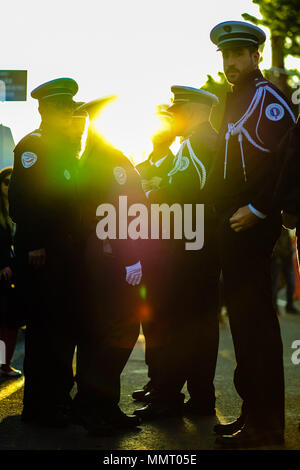 Cannes, France. 12th May 2018. Atmosphere at Palais des Festivals on Saturday 12 May 2018 during the 71st Cannes Film Festival held at Palais des Festivals, Cannes. Pictured: Police officers in the evening light. Picture by Julie Edwards/LFI/Avalon. Credit: Julie Edwards/Alamy Live News - Stock Photo