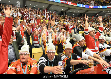 Herning, Denmark.. 12th May, 2018. Fans cheer during the match between Latvia and Germany on 12.05.2018 in Herning, Denmark. (Photo by Marco Leipold/City-Press GbR) | usage worldwide Credit: dpa picture alliance/Alamy Live News - Stock Photo