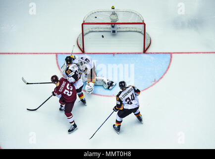 Herning, Denmark.. 12th May, 2018. (LR) Andris Dzerins of Team Latvia, Frederik Tiffels, Niklas Treutle and Dennis Seidenberg of Team Germany during the match between Latvia and Germany on 12.05.2018 in Herning, Denmark. (Photo by Marco Leipold/City-Press GbR) | usage worldwide Credit: dpa picture alliance/Alamy Live News - Stock Photo