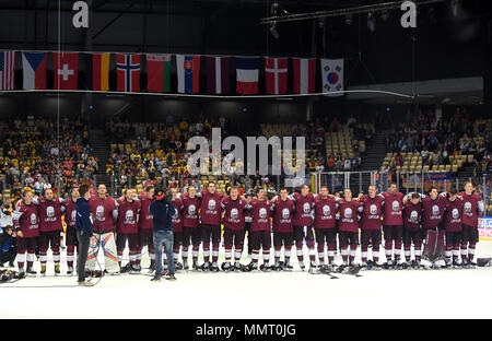 Herning, Denmark.. 12th May, 2018. Players of Team Latvia after the match between Latvia and Germany on 05/12/2018 in Herning, Denmark. (Photo by Marco Leipold/City-Press GbR) | usage worldwide Credit: dpa picture alliance/Alamy Live News - Stock Photo