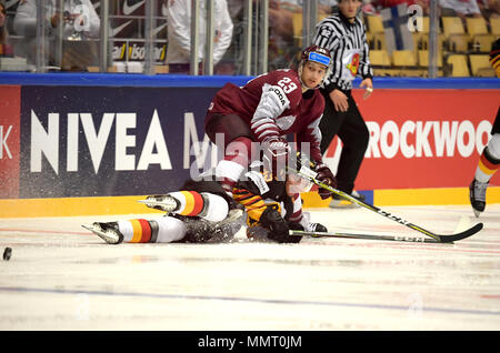 Herning, Denmark.. 12th May, 2018. Teodors Blugers of Team Latvia and Frederik Tiffels of Team Germany during the match between Latvia and Germany on May 12, 1818 in Herning, Denmark. (Photo by Marco Leipold/City-Press GbR) | usage worldwide Credit: dpa picture alliance/Alamy Live News - Stock Photo