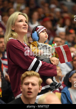 Herning, Denmark.. 12th May, 2018. Fans of Team Latvia during the match between Latvia and Germany on 12.05.2018 in Herning, Denmark. (Photo by Marco Leipold/City-Press GbR) | usage worldwide Credit: dpa picture alliance/Alamy Live News - Stock Photo