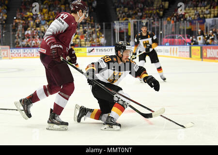 Herning, Denmark.. 12th May, 2018. Kristians Rubins from Team Latvia and Patrick Hager from Team Germany during the match between Latvia and Germany on 12.05.2018 in Herning, Denmark. (Photo by Marco Leipold/City-Press GbR) | usage worldwide Credit: dpa picture alliance/Alamy Live News - Stock Photo