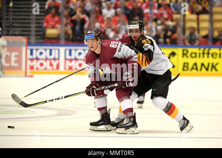 Herning, Denmark.. 12th May, 2018. Nikita Jevpalovs of Team Latvia and Frederik Tiffels of Team Germany during the match between Latvia and Germany on May 12, 1818 in Herning, Denmark. (Photo by Marco Leipold/City-Press GbR) | usage worldwide Credit: dpa picture alliance/Alamy Live News - Stock Photo