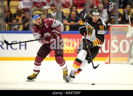 Herning, Denmark.. 12th May, 2018. Roberts Bucharts from Team Latvia and Marcel Noebels from Team Germany during the match between Latvia and Germany on 12.05.2018 in Herning, Denmark. (Photo by Marco Leipold/City-Press GbR) | usage worldwide Credit: dpa picture alliance/Alamy Live News - Stock Photo
