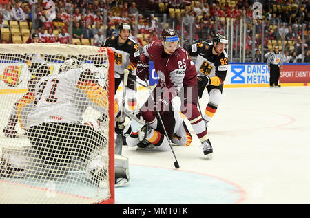 Herning, Denmark.. 12th May, 2018. (LR) Niklas Treutle, Frederik Tiffels of Team Germany, Andris Dzerins of Team Latvia and Marcel Noebels of Team Germany during the match between Latvia and Germany on 12.05.2018 in Herning, Denmark. (Photo by Marco Leipold/City-Press GbR) | usage worldwide Credit: dpa picture alliance/Alamy Live News - Stock Photo