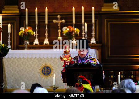 London, UK. 13th May 2018. Annual punch and Judy festival and church service in St Paul's Covent garden, Credit: Rachel Megawhat/Alamy Live News - Stock Photo