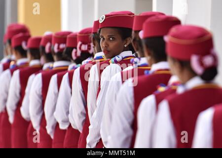 Beijing, Ethiopia. 5th Oct, 2016. Ethiopian attendants participate in the opening ceremony of Ethiopia-Djibouti railway at the Lebu station in Addis Ababa, Ethiopia, on Oct. 5, 2016. Credit: Sun Ruibo/Xinhua/Alamy Live News - Stock Photo