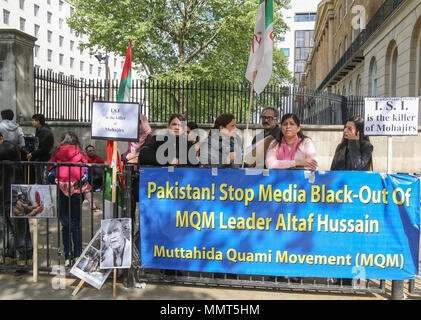 London UK 13 May 2018 The Mohair protesting outside Downing Street demanding for the UK government to help them achieve independence and to ask the Pakistani authorities to stop the killing and torture of their people. Mohajirs are Muslim immigrants, of multi-ethnic origin, and their descendants, who migrated from various regions of India after the Partition of India to settle in the newly independent state of Pakistan.@Paul Quezada-Neiman/Alamy Live News - Stock Photo