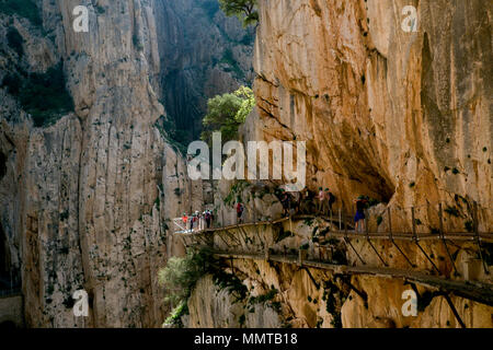 The restored Caminito del Rey walkway 105 metres above ground.  Renovated in 2015 the new boardwalk replaces the original degraded cement path below. - Stock Photo