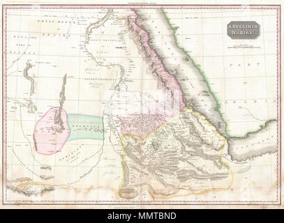 .  English: Pinkerton's extraordinary 1818 map of Nubia and Abyssinia. Covers from Darfur east to the Gulf of Aden and from Aswan south to Gingiro. Includes the modern day countries of Sudan, Ethiopia, and Eretria as well as parts of Djibouti, Kenya, Egypt, Yemen and Saudi Arabia. This map is centered on the southern reaches of the Nile River. Shows the division of the Nile in modern day Sudan between the White Nile, which flows slightly westward and the Blue Nile which flows slightly eastward. The Blue Nile had, by this time, been traced to its source, Lake Tana, in the relatively well mapped - Stock Photo