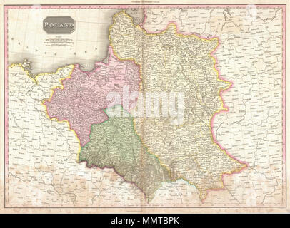 .  English: Pinkerton's extraordinary 1818 map of Poland. Depicts the Polish state following the Third Partition of 1795 and before it was reconstituted by Napoleon as the Duchy of Warsaw. Shows the state divided into three zones, East Prussia, Galicia, and Russian Poland or the region that once constituted the core of the Grand Duchy of Lithuania. Identifies cities, towns, castles, important battle sites, castles, swamps, mountains and river ways. Upper left hand quadrant features three scales, British Miles, French Leagues, and Polish Miles. Drawn by L. Herbert and engraved by Samuel Neele u - Stock Photo