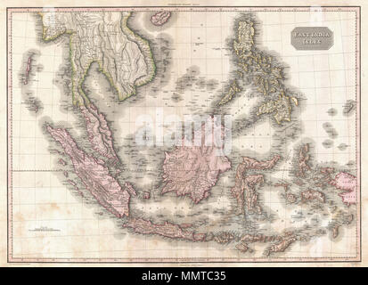 .  English: Truly a masterwork of copperplate engraving, this is Pinkerton's extraordinary 1818 map of the East Indies. Covers from Burma south to Java and from the Andaman Islands eastward as far as the Philippines and New Guinea. Includes the entire Malay Peninsula, much of Southeast Asia (Thailand, Cambodia, Vietnam), Sumatra, Java, Borneo and the Philippines. Pinkerton offers impressive detail throughout noting indigenous groups, forts, towns and cities, swamps, mountains, and river systems. Known regions such as Java and Sumatra are full of interesting notes and commentary, such as the si - Stock Photo