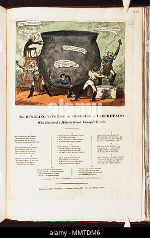 . Satire on the Napoleonic wars. (British political cartoon)  The bungling tinkers! or,: Congress of blockheads! who battered a hole in great Europe's kettle. [1815]. Bodleian Libraries, The bungling tinkers or,- Congress of blockheads who battered a hole in great Europe's kettle - Stock Photo