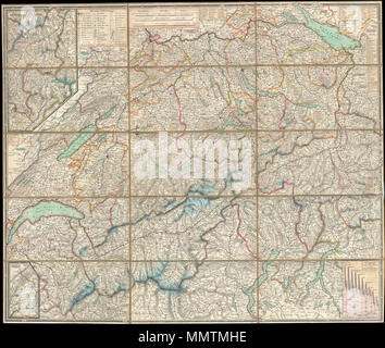 .  English: This is an extremely detailed and attractive 1834 folding pocket map of Switzerland drawn by the Zurich cartographer and lithographer Heinrich Keller. Covers the mountainous country from Lake Geneva to Lake Constance. Details numerous river ways, likes, cities, roadways, forts, castles, and monasteries. A stunning and rare example of 19th century Swiss cartography.  Schweizerische Karten und Plane, Panorama und Ansichten. 1834 (dated). 1834 Keller Pocket Map of Switzerland - Geographicus - Switzerland-keller-1834 - Stock Photo