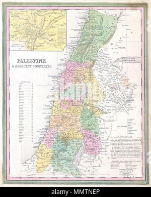 """.  English: A fine and rare 1836 S. A. Mitchell map depicting Palestine, Israel or the Holy Land. Includes From Gaza North as far as modern day Lebanon. The regions claimed by the various tribes of Israel are noted. In the upper right there is an inset map of the Environs of Jerusalem. Specifically notes cities and towns mentioned in the Bible as well as marks Cities of Refuge, Levitical Cities, and Royal Cities of the Israelites. Ruins are also noted. Dated and copyrighted: """"Entered according to the Act o Congress in the year of 1836 by H. S. Tanner in the Clerk's office of the District Court - Stock Photo"""