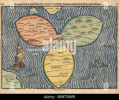 Jerusalem Center Of The World Map.The Three Continents With Jerusalem In The Center Of The World