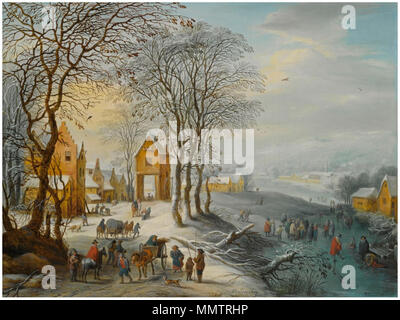 English: A summer landscape with elegant travellers, a horse-drawn wagon, near a village with peasans dancing around a May-tree . between 1721 and 1770. Carel Beschey - A winter landscape with travellers and a horse-drawn cart, near a village with figures skating on a frozen river nearby - Stock Photo