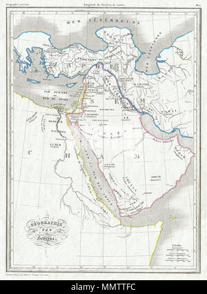 .  English: This is Conrad Malte Brun's very appealing map of the Biblical geography of the Torah and Old Testament. Covers what is modern day Egypt, Arabia, Persia and Turkey. Notes many Old Testament lands and Kingdoms including the lands of Magog, Canaan, Saleph, Lubim, Misrim and others. Land extends northward only slightly beyond the 42nd degree of latitude, where it meets the mythical Mar Tenebreuse. Engraved by Thierry as plate no. 1 in Malte Brun's Geographie Ancienne .  Geographie des Hebreux.. 1843 (undated). 1843 Malte Brun Map of the Biblical Lands of the Hebrews (Egypt, Arabia, Is - Stock Photo