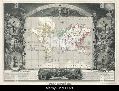 .  English: This is a rare 1847 map of the world by French map publisher Victor Levasseur. Probably Levassuer's most sought after atlas map. Depicts the world on a Mercator projection with continents and some countries defined with outline color. Offers a few elements of geographical interest. This map shows the Oregon-Canada border extending northward into what is today British Columbia along the 54°40' north parallel. Map layout, if not the map itself, predates acquisition of California and Texas by the United States. Traces of Antarctica appear along the bottom of the map where various expl - Stock Photo