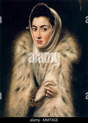 . La dama del armiño o La Infanta Catalina Micaela con abrigo de piel, atribuido al Greco  Portrait of Caterina Micaela of Spain (1567-1597). circa 1577-1578. Catalinamicaelaspain65 - Stock Photo