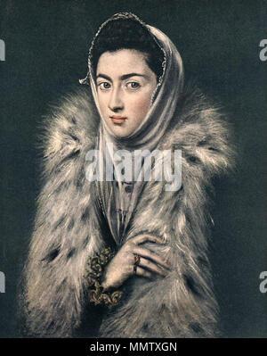 . La dama del armiño o La Infanta Catalina Micaela con abrigo de piel, atribuido al Greco  Portrait of Caterina Micaela of Spain (1567-1597). circa 1577-1578. Catalinamicaelaspain66 - Stock Photo