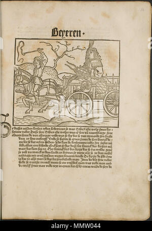. Illustration from the incunabulum: Cronecken der Sassen (The Chronicles of Saxony) printed by Peter Schöffer in Mainz.  . 1492. Conrad Bote (Konrad Botho) Chariot in Chariot p00071 - Stock Photo