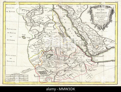 .  English: A beautiful example of Rigobert Bonne's 1771 map of Nubia and Abyssinia. Covers from Aswan, Egypt south along the Nile river to include all of modern day Sudan, Ethiopia, Eretria, Djibouti and Somalia. Also includes parts of neighboring Arabia across the Red Sea. This is a fairly advanced map revealing the cartographic sophistication of the Abyssinian Empire. Shows the Blue Nile flowing correctly into Lake Dambea (Lake Tana) from the south. Notes numerous important cataracts on the Blue Nile. The White Nile, who's course is more mysterious, acts as a kind of western border for this - Stock Photo