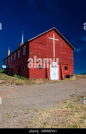 APRIL 27, 2017 - PARADOX COLORADO - Paradox Community Center and Church with cross, off State Route 90, Western Colorado near Utah border - Stock Photo