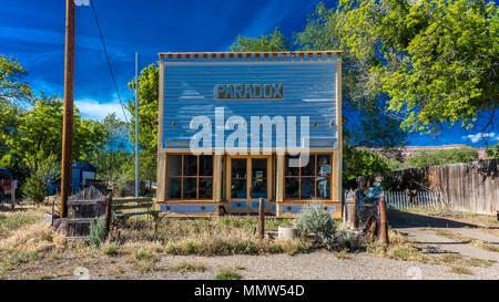 APRIL 27, 2017 - PARADOX COLORADO -  Paradox Store front, off State Route 90, Western Colorado near Utah border - Stock Photo