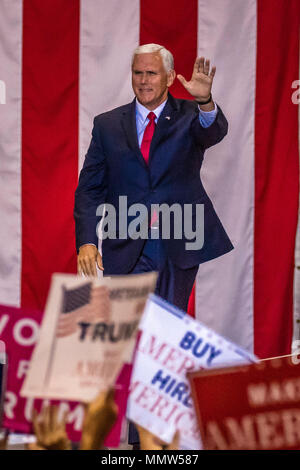 PHOENIX, AZ - AUGUST 22: U.S. Vice President Mike Pence waves & welcomes supporters at a rally by President Donald Trump at the Phoenix Convention Center during a 2020 Trump rally - Stock Photo