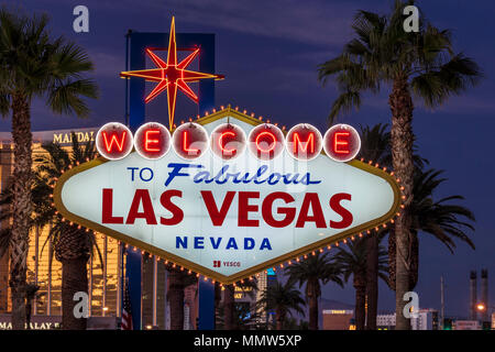 OCTOBER 27, 2017 - Welcome to Fabulous Las Vegas Nevada - famous neon sign at dusk - Stock Photo
