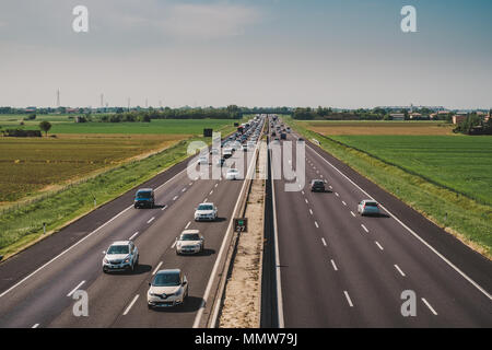Castel San Pietro, Bologna, Italy - 04/28/2018. Paid highway traffic - Stock Photo