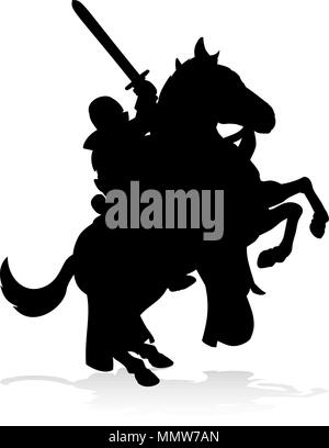 Silhouette Knight on Horse - Stock Photo