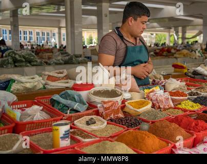 Spice Shop, Syobian Market, Samarkand, Uzbekistan - Stock Photo