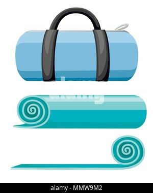 Exercise mat and sports bag. Rolled and open turquoise yoga mat. Vector illustration isolated on white background. - Stock Photo