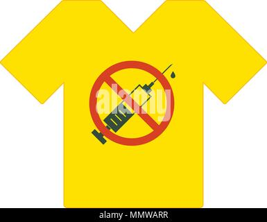 Yellow T Shirt No Drugs Allowed Marijuana Leaf With Forbidden Sign