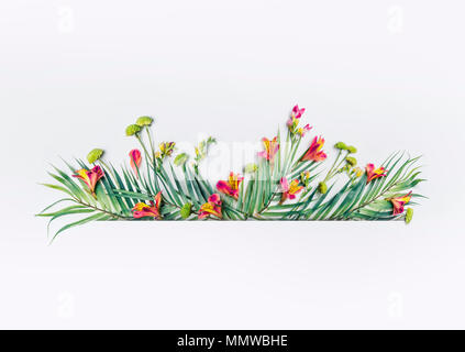 Summer tropical design with exotic palm leaves and  flowers for banner or flyer on white background - Stock Photo