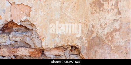 Old Cracked Weathered Shabby Yellow Painted Plastered Peeled Brick Wall Banner Background. - Stock Photo