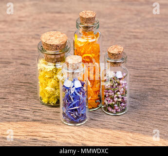 Bottles with herbs used in traditional medicine is not on the wo Stock Photo