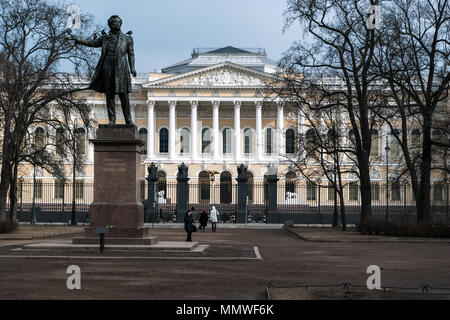 Saint-Petersburg, Russia, March 29: Monument to the great Russian poet Alexander Pushkin in the square in front of the Russian Museum on March 29, 201 - Stock Photo