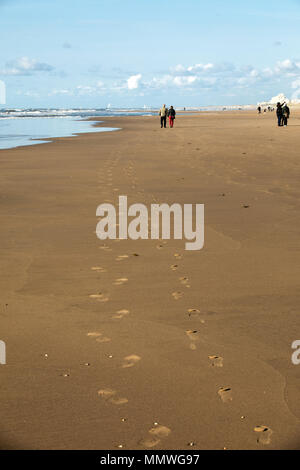View on the beach and the North Sea at Katwijk aan Zee, South Holland, The Netherlands. - Stock Photo