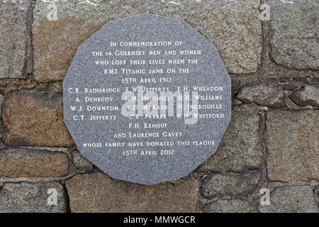 Commemorative Plaque naming the Guernsey men and women who lost their lives when RMS Titanic sank - Stock Photo