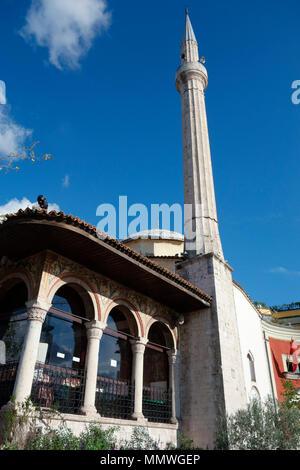Et'hem Bey Mosque on Skanderbeg Square in Tirana, Albania, Balkans - Stock Photo