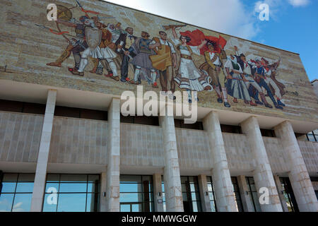 National Museum of History and the Albanian victorious history mosaic on its facade, Tirana, Albania, Balkans - Stock Photo