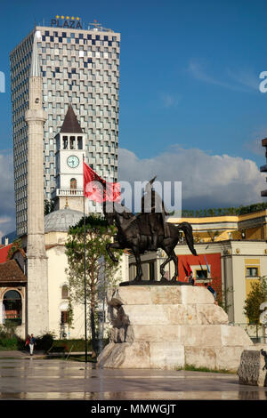 The Skanderbeg Monument on Skanderbeg Square in Tirana, Albania, Balkans - Stock Photo