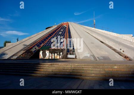 The Pyramid, former Enver Hoxha Museum, now a conference centre, Tirana, Albania, Balkans - Stock Photo