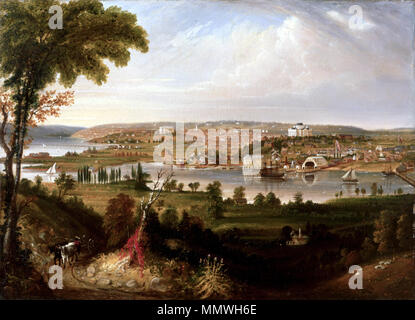 City of Washington from Beyond the Navy Yard. 1833. City of Washington from Beyond the Navy Yard by George Cooke, 1833 - Stock Photo