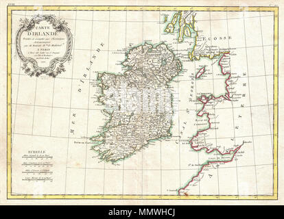 .  English: A beautiful example of Rigobert Bonne's 1771 decorative map of Ireland. Includes all of Ireland as well as parts of neighboring England and Scotland. An elaborate decorative title cartouche appears in the upper left quadrant. Drawn by R. Bonne 1771 for issue as plate no. C 20 in Jean Lattre's 1776 issue of the Atlas Moderne .  Carte D'Irlande Projelle de assujettie aux Observation Astronomiques.. 1771 (dated). 1771 Bonne Map of Ireland - Geographicus - Ireland-bonne-1771 - Stock Photo