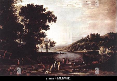 Landscape with Merchants. circa 1630. Claude Lorrain - Landscape with Merchants - WGA04975 - Stock Photo